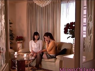 Japanese Matures Receives Oral From Honey In Kitchen