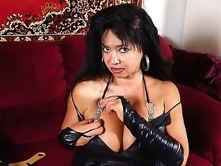 Asian Woman With Big Tits, Devin Demoor Is Playing With Her Ideally Bald Vulva On The Couch