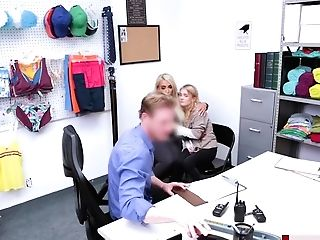 Teenage And Her Stepmom Fucked Security Officer On Duty