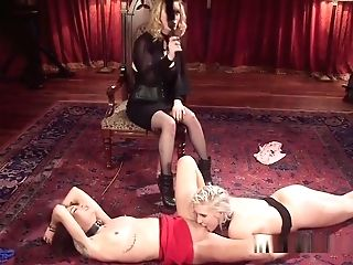 Buxomy Mistress Whips And Fucks Lesbos