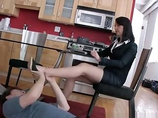 Under Table Foot Homage Female Domination