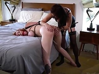 Crimson Haired Woman With Big Baps Got Ball-gagged, Tied Up And Tormented, In The Bedroom