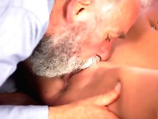 Old4k. Old Man With Facial Hair Actively Opens Up Youthfull Blonde...