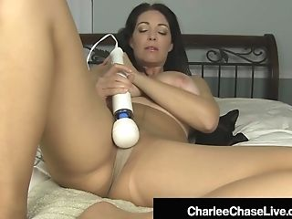 Huge-chested Mummy Charlee Chase Gropes Her Pantyhosed Vagina & Squirts