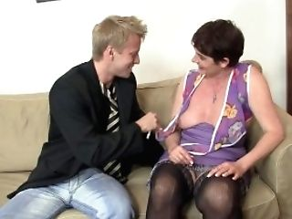 Old Granny In Black Stockings Rails His Meat