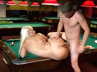 Lengthy Haired Sexy Booty Blondie Gets Her Quim Fucked On Billiard Table