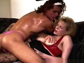 Blonde Cougar Sexy Stockings Fucks A Man In Pink Panty