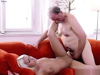Blonde Nubile Tanya Astonished By The Old Guy's Sexual Strength