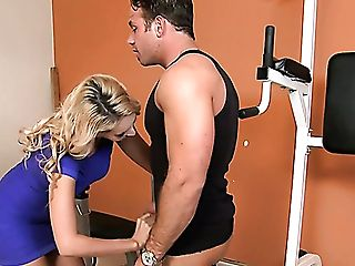 Fabulous Curvy Blonde Milky Lady In The Gym Perceives Horny For Youthful Milky Man